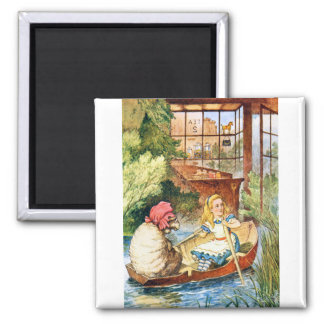 Alice Watched as the Old Woman Turned into a Sheep 2 Inch Square Magnet