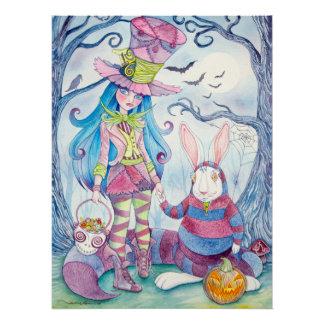 """Alice & White Rabbit in Halloween"" Perfect Poster"