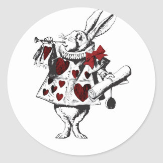 Alice White Rabbit Red w Horn Red hearts Classic Round Sticker