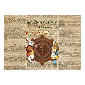 Alice & White Rabbit Vintage Dictionary Art Quote Card