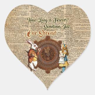 Alice & White Rabbit Vintage Dictionary Art Quote Heart Sticker