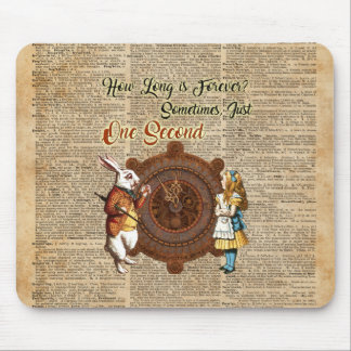 Alice & White Rabbit Vintage Dictionary Art Quote Mouse Pad