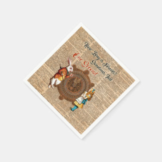 Alice & White Rabbit Vintage Dictionary Art Quote Napkin