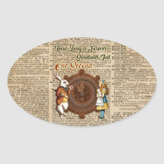 Alice & White Rabbit Vintage Dictionary Art Quote Oval Sticker