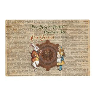 Alice & White Rabbit Vintage Dictionary Art Quote Placemat