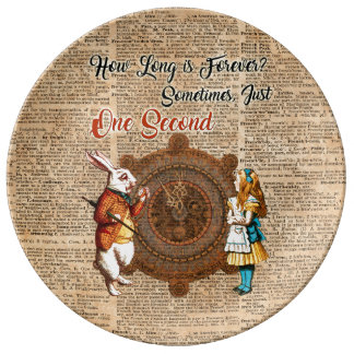 Alice & White Rabbit Vintage Dictionary Art Quote Porcelain Plate