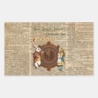 Alice & White Rabbit Vintage Dictionary Art Quote Rectangular Sticker