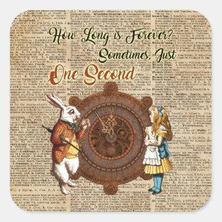 Alice & White Rabbit Vintage Dictionary Art Quote Square Sticker