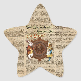 Alice & White Rabbit Vintage Dictionary Art Quote Star Sticker