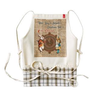 Alice & White Rabbit Vintage Dictionary Art Quote Zazzle HEART Apron