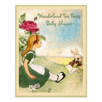 Alice & White Rabbit Wonderland Baby Shower Personalized Announcement