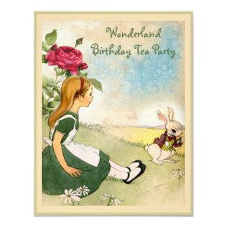 Alice & White Rabbit Wonderland Birthday Party Card