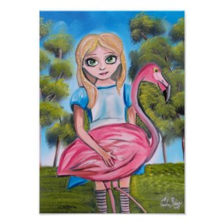 Alice with a flamingo poster