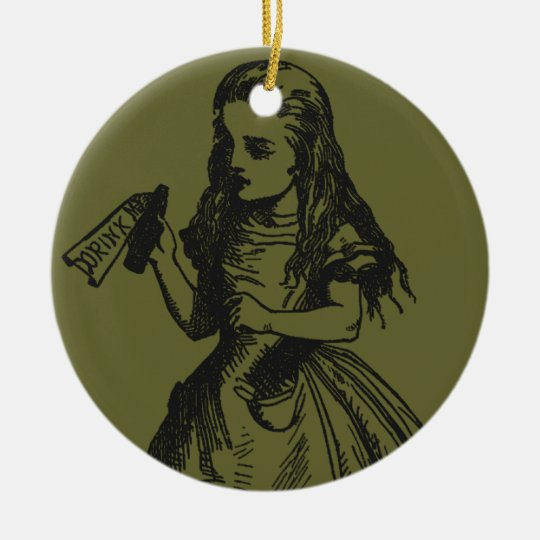 "Alice with ""Drink Me"" Bottle Ceramic Ornament"