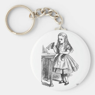 "Alice with ""Drink Me"" Bottle Basic Round Button Keychain"