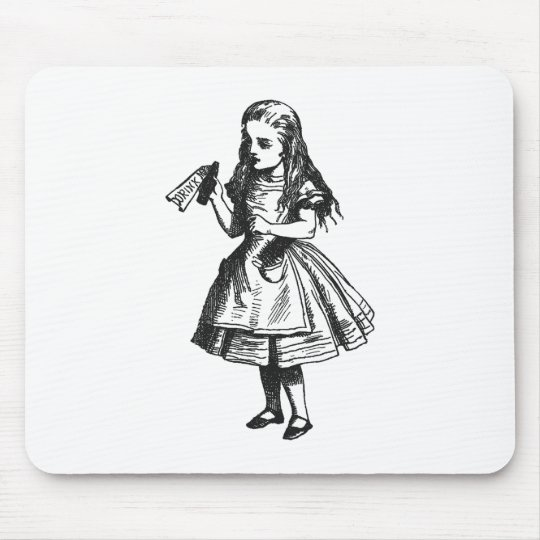 """Alice with """"Drink Me"""" Bottle Mouse Pad"""