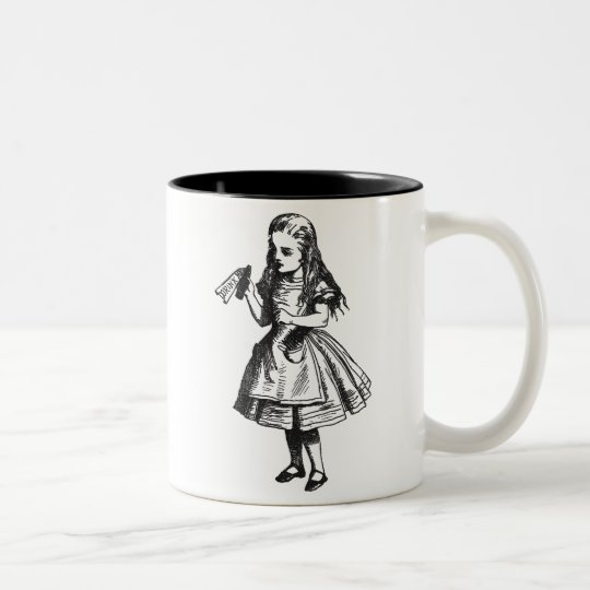"""Alice with """"Drink Me"""" Bottle Two-Tone Coffee Mug"""