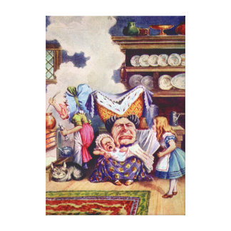 Alice With Duchess & the Pig Baby in the Kitchen Gallery Wrapped Canvas