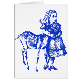 Alice with Fawn Inked Blue Card