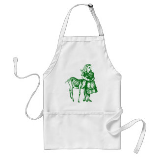 Alice with Fawn Inked Green Adult Apron