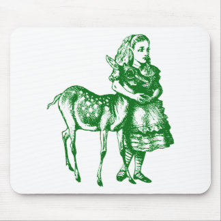 Alice with Fawn Inked Green Mouse Pad