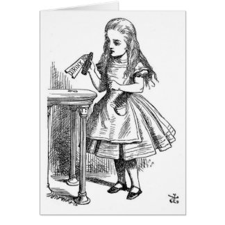 """Alice with the """"Drink Me"""" Bottle Card"""