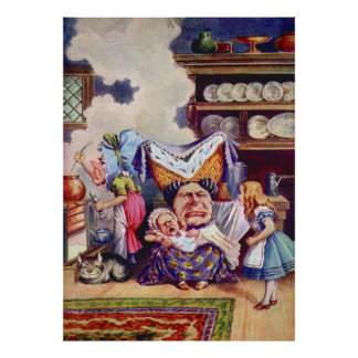 Alice with the Duchess & the Pig Baby in Kitchen Poster