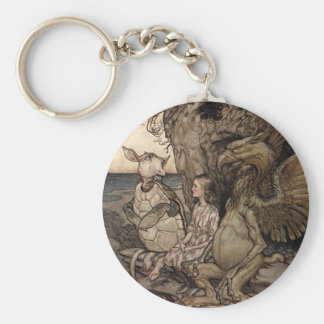Alice with the Gryphon and the Mock Turtle Basic Round Button Keychain