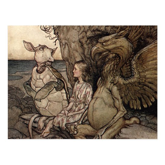 Alice with the Gryphon and the Mock Turtle Postcard