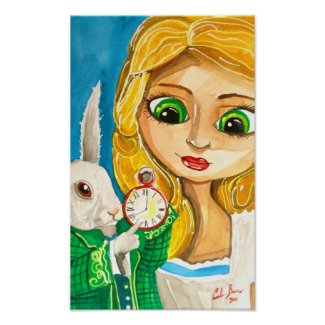 Alice with the white rabbit poster