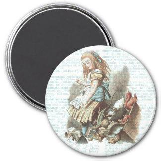 Alice Wonderland Favors Vintage Book Page Art 3 Inch Round Magnet
