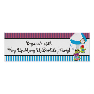 Alice Wonderland Whimsical Mad Tea Party Banner Poster