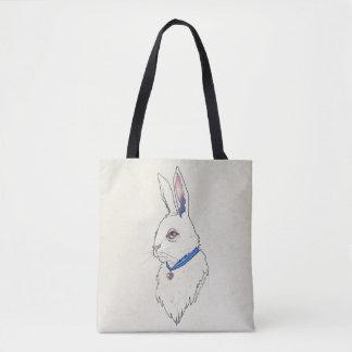 Alice Wonderland White Rabbit Pastel Watercolor Tote Bag
