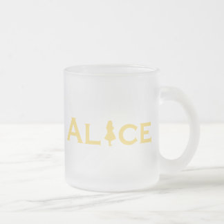Alice Word Play Frosted Glass Coffee Mug