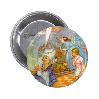 ALICEMEETS THE PIG BABY IN THE DUCHESS' KITCHEN PINBACK BUTTON