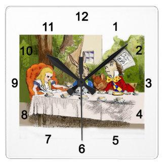 Alice's Adventures in Wonderland Square Wall Clock