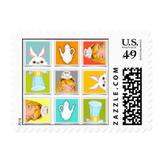 Alice's Block Tea Party by Kelly Schwark Postage Stamp