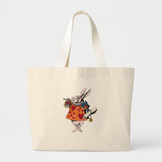 Alice's of the country of wonder rabbit large tote bag