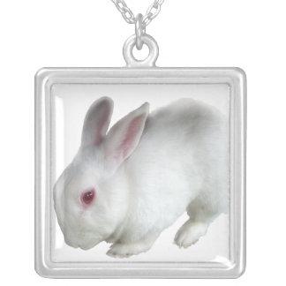 Alice's rabbit square pendant necklace