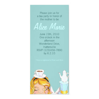 Alice's Tea Party Baby or Bridal Shower Blue Card