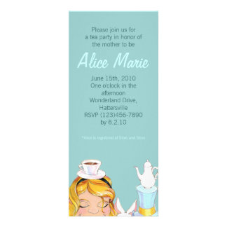 Alice's Tea Party Baby or Bridal Shower Blue Invite