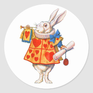 ALICE'S WHITE RABBIT CLASSIC ROUND STICKER