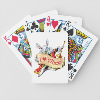 "Alice's White Rabbit says, ""I love Alice"" Bicycle Playing Cards"