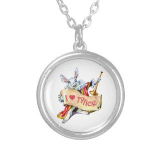 "Alice's White Rabbit says, ""I love Alice"" Personalized Necklace"