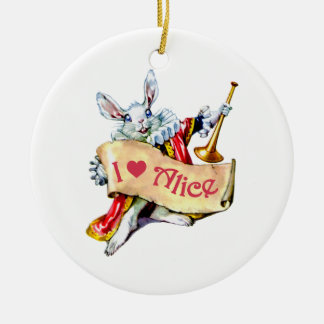 "Alice's White Rabbit says, ""I love Alice"" Christmas Tree Ornaments"