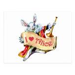 """Alice's White Rabbit says, """"I love Alice"""" Postcards"""