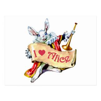 """Alice's White Rabbit says, """"I love Alice"""" Postcard"""