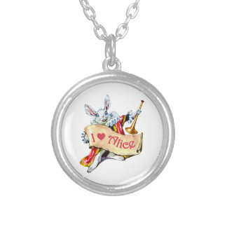 "Alice's White Rabbit says, ""I love Alice"" Silver Plated Necklace"