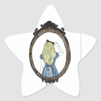 Alicia a través del espejo pegatina en forma de estrella