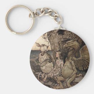 Alicia con el Gryphon y la tortuga falsa Llavero Redondo Tipo Pin
